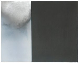 By sanding the aluminium sandwich plate on the left panel, a dark but very fine grey substance (dust) is produced that is placed on the right panel and becomes a monochrome. The left panel is a cloudy image which is 'intrinsic' as looking through a small window into the cloudy distance. The right panel – in contrary – is very physical and 'here' - as in close to the spectator - and not distant but present: it is defined mostly by its materiality. A diptych of these two elements denies the impression of a strong duality between the two.